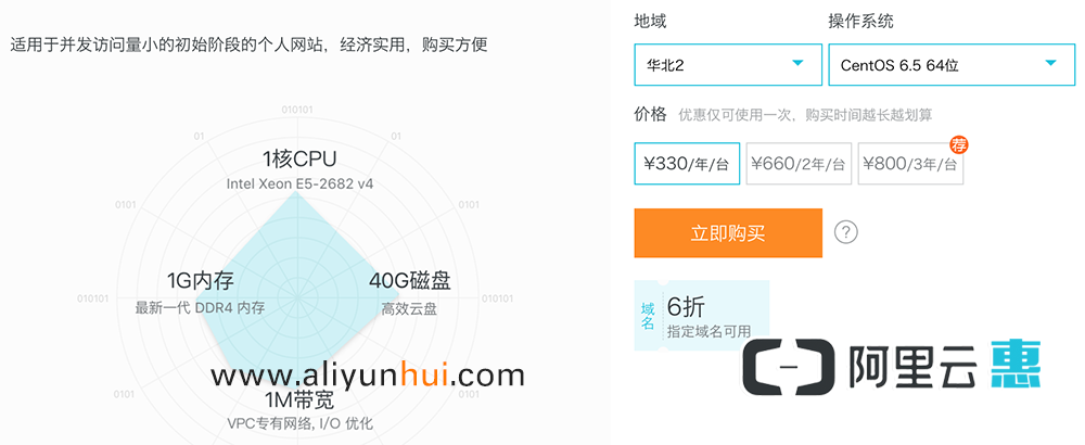 阿里云服务器普惠版优惠价330元一年