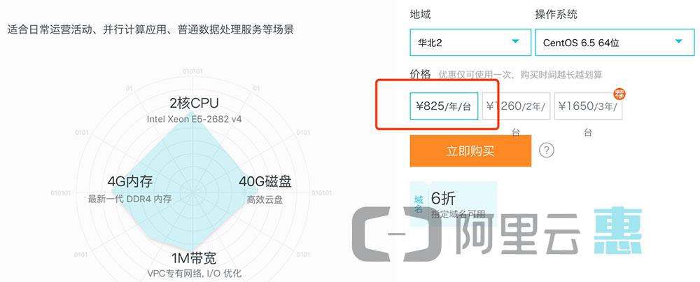 阿里云2核4G服务器825元/年优惠价