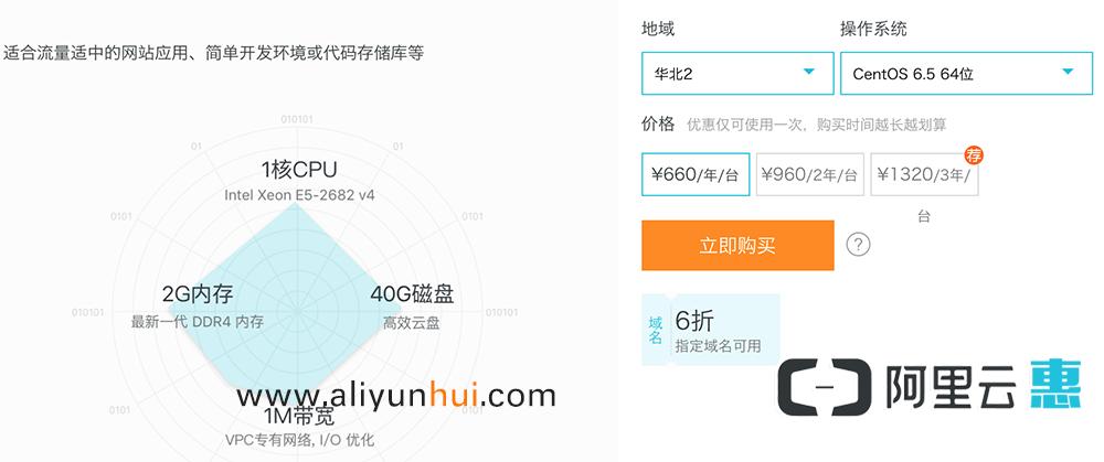 阿里云服务器1核2G 660元一年