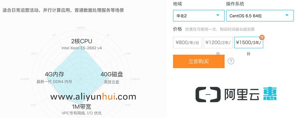 阿里云2核4G双十一专享1500元三年