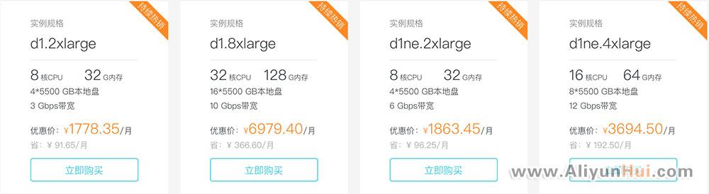 阿里云大数据云服务器(d1/d1ne)优惠价格