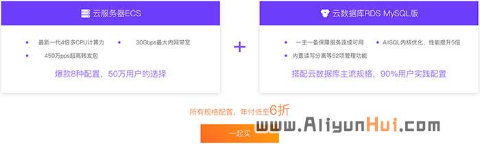 阿里云一起买云服务器+云数据库低至6折-阿里云惠网