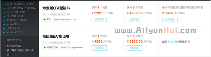 阿里云SSL证书优惠价格表