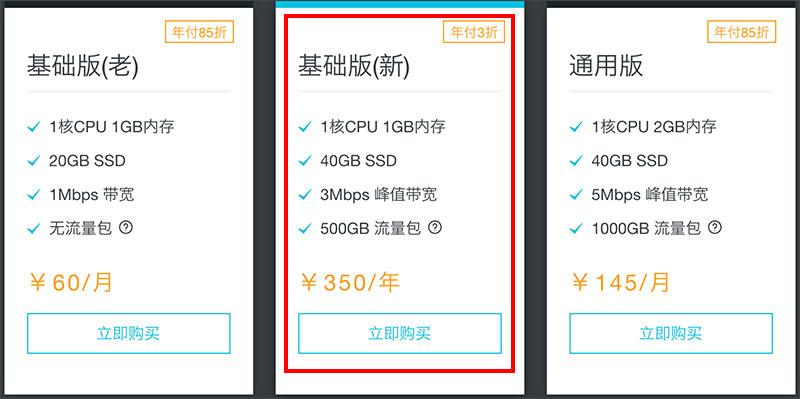 阿里云轻量应用服务器优惠年付3折350元一年