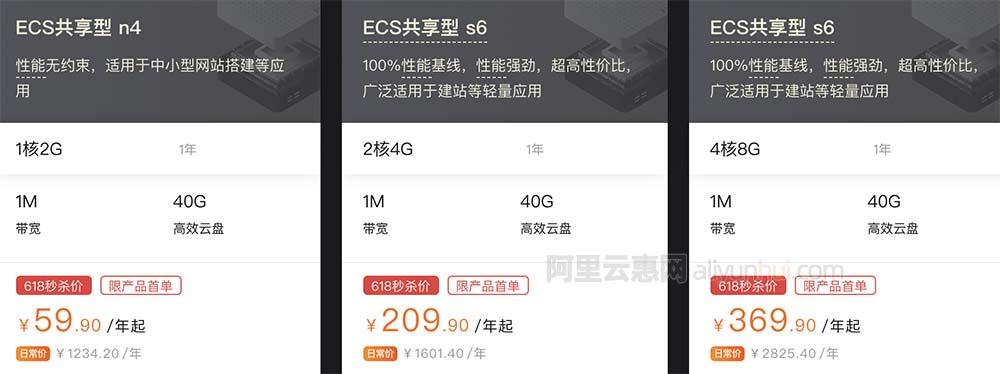 阿里云618服务器1核2G/2核4G/4核8G优惠秒杀价格表2021